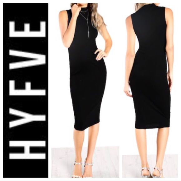 28645025466e9 w TAG HYFVE Sleeveless Midi Black Sweater DRESS